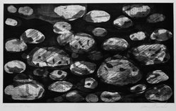 Donn Steward (American, 1921-1986). <em>Shorescape III</em>, ca. 1979. Etching: aquatint and spit bite, sheet: 10 1/4 x 17 1/2 in. (26.1 x 44.5 cm). Brooklyn Museum, Gift of Marjorie Rice, 1989.33. © artist or artist's estate (Photo: Brooklyn Museum, 1989.33_bw.jpg)