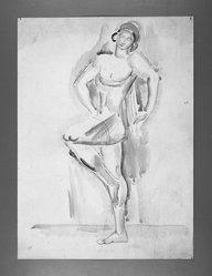 William Sommer (American, 1867-1949). <em>Female Acrobat</em>. Watercolor, 15 x 11 in. (38.1 x 27.9 cm). Brooklyn Museum, Gift of William and Bette-Ann Spielman, 1989.4.3. © artist or artist's estate (Photo: Brooklyn Museum, 1989.4.3_bw.jpg)