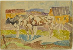 William Sommer (American, 1867-1949). <em>Two Cows in the Farmyard</em>, late 1930s. Recto: watercolor with ink and graphite on medium weight, smooth, wove paper Verso: relief, line block print with black and green printing ink, 11 7/16 x 16 13/16 in. (29.1 x 42.7 cm). Brooklyn Museum, Gift of William and Bette-Ann Spielman, 1989.4.6. © artist or artist's estate (Photo: Brooklyn Museum, 1989.4.6_PS2.jpg)