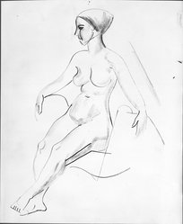 William Sommer (American, 1867-1949). <em>Seated Nude</em>, n.d. India ink and charcoal on paper, sheet: 17 1/8 x 14 1/8 in. (43.5 x 35.9 cm). Brooklyn Museum, Gift of Mr. and Mrs. William Spielman, 1989.8.1. © artist or artist's estate (Photo: Brooklyn Museum, 1989.8.1_bw.jpg)