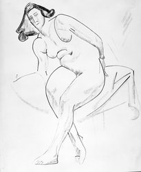 William Sommer (American, 1867-1949). <em>Seated Nude</em>, n.d. Ink, charcoal and colored chalk on paper, sheet: 17 1/8 x 14 1/8 in. (43.5 x 35.9 cm). Brooklyn Museum, Gift of Mr. and Mrs. William Spielman, 1989.8.2. © artist or artist's estate (Photo: Brooklyn Museum, 1989.8.2_bw.jpg)