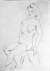 William Sommer (American, 1867-1949). <em>Seated Nude</em>, n.d. Pen and India ink on paper, sheet: 18 1/16 x 12 1/2 in. (45.9 x 31.8 cm). Brooklyn Museum, Gift of Mr. and Mrs. William Spielman, 1989.8.3. © artist or artist's estate (Photo: Brooklyn Museum, 1989.8.3_bw.jpg)