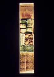 Gordon Matta-Clark (American, 1943-1978). <em>Underground Paris: St. Michel</em>, 1977. Chromogenic photograph with tape, frame: 100 1/4 x 22 in. (254.6 x 55.9 cm). Brooklyn Museum, Gift of Edward A. Bragaline, by exchange, 1990.108. © artist or artist's estate (Photo: Brooklyn Museum, 1990.108.jpg)