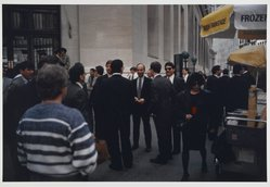 Howard Greenberg (American, born 1944). <em>Wall Street</em>, 1988. Chromogenic photograph, image: 12 1/4 x 18 1/8 in. (31.1 x 46 cm). Brooklyn Museum, Gift of the artist, 1990.113.1. © artist or artist's estate (Photo: Brooklyn Museum, 1990.113.1_PS2.jpg)