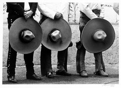 Leticia Kalb (Mexican, born 1930). <em>[Untitled] (Men with sombreros)</em>, 1982. Gelatin silver photograph, 9 1/2 x 13 1/2 in. Brooklyn Museum, Gift of Marcuse Pfeifer, 1990.119.42. © artist or artist's estate (Photo: Brooklyn Museum, 1990.119.42_bw.jpg)