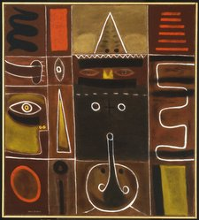 Adolph Gottlieb (American, 1903-1974). <em>Premonition of Evil</em>, 1946. Oil and tempera on canvas, unframed: 40 1/8 x 36 1/8 in.  (101.9 x 91.8 cm);. Brooklyn Museum, Gift of the Adolph and Esther Gottlieb Foundation, Inc. in honor of Esther Gottlieb and Lawrence Alloway, 1990.163. © artist or artist's estate (Photo: Brooklyn Museum, 1990.163_SL1.jpg)
