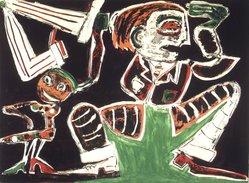 George McNeil (American, 1908-1995). <em>Debonair Disco</em>, 1984. Aquatint, 31 x 42 1/2 in.  (78.7 x 108 cm). Brooklyn Museum, Gift of Mr. and Mrs. Thomas Gruenebaum, 1990.167.3. © artist or artist's estate (Photo: Brooklyn Museum, 1990.167.3_transp329.jpg)