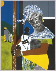 Romare Bearden (American, 1911-1988). <em>Come Sunday</em>, 1975. Color lithograph, 27 3/4 x 21 3/8in. (70.5 x 54.3cm). Brooklyn Museum, Gift of Bruce Teleky, 1990.170. © artist or artist's estate (Photo: Brooklyn Museum, 1990.170_SL1.jpg)
