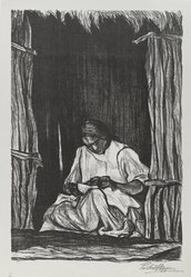"Pablo O'Higgins (American, 1904-1983). <em>Seated Woman</em>, n.d. Lithograph on paper, sheet: 21 5/16 x 14 7/8 in. (54.2 x 37.8 cm). Brooklyn Museum, Gift of Mr. and Mrs. Michael Klasfeld in memory of Harold   Hal"" Gottfried, a fine and cherished friend, 1990.207. © artist or artist's estate (Photo: Brooklyn Museum, 1990.207_PS4.jpg)"