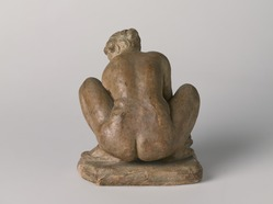 Aristide Maillol (French, 1861-1944). <em>Crouching Woman with Crab</em>, n.d. Plaster, paint, 6 5/8 x 6 3/8 x 6 in. Brooklyn Museum, Gift of The Alex Hillman Family Foundation, 1990.98.6. © artist or artist's estate (Photo: , 1990.98.6_back_PS9.jpg)