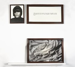 Sophie Calle (French, born 1953). <em>The Blind #22</em>, 1986. Gelatin silver photograph, Ektachrome print, lacquered wood shelf, text in wood frame, 47 1/4 x 51 3/4 x 5 1/2 in. (120 x 131.4 x 14 cm). Brooklyn Museum, Gift of Caroline Hunter, by exchange, 1991.150a-d. © artist or artist's estate (Photo: , 1991.150a-d_PS9.jpg)