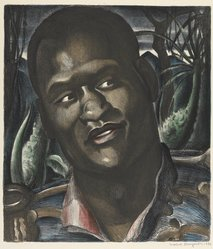 Mabel Dwight (American, 1876-1955). <em>Paul Robeson as Emperor Jones</em>, 1930. Color lithograph on Rives BFK paper, Sheet: 22 9/16 x 15 7/8 in. (57.3 x 40.3 cm). Brooklyn Museum, Gift of Gertrude W. Dennis, 1991.153.10. © artist or artist's estate (Photo: Brooklyn Museum, 1991.153.10_PS9.jpg)