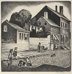 Mabel Dwight (American, 1876-1955). <em>Old Greenwich Village</em>, 1928. Lithograph on BFK Rives paper, Image: 9 9/16 x 9 1/2 in. (24.3 x 24.1 cm). Brooklyn Museum, Gift of Gertrude W. Dennis, 1991.153.14. © artist or artist's estate (Photo: Brooklyn Museum, 1991.153.14_PS9.jpg)