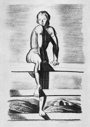 Rockwell Kent (American, 1882-1971). <em>Climbing the Bars</em>, 1928. Transfer lithograph, Sheet: 16 x 11 3/8 in. (40.6 x 28.9 cm). Brooklyn Museum, Gift of Gertrude W. Dennis, 1991.153.20. © artist or artist's estate (Photo: Brooklyn Museum, 1991.153.20_bw.jpg)
