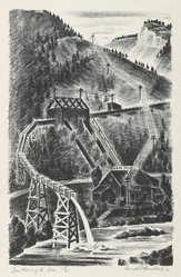 Arnold Ronnebeck (American, 1885-1947). <em>Gem Mining Co., Colorado</em>, 1932. Lithograph on wove paper, Image: 13 9/16 x 8 7/8 in. (34.5 x 22.5 cm). Brooklyn Museum, Gift of Gertrude W. Dennis, 1991.153.28. © artist or artist's estate (Photo: Brooklyn Museum, 1991.153.28_PS6.jpg)