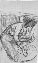 Pierre Bonnard (French, 1867-1947). <em>Crouching Nude (Nu accroupi)</em>, n.d. Graphite on graph paper, Sheet: 6 7/8 x 4 1/4 in. (17.5 x 10.8 cm). Brooklyn Museum, Emily Winthrop Miles Fund, 1991.164. © artist or artist's estate (Photo: Brooklyn Museum, 1991.164_bw.jpg)