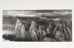 C. C. Wang (Chinese, 1907-2003). <em>Landscape</em>, 1991. Ink and color on paper, 15 x 33 3/8 in. (38.1 x 84.8cm). Brooklyn Museum, Gift of Denis and Kathleen Yang, 1991.249. © artist or artist's estate (Photo: Brooklyn Museum, 1991.249_IMLS_SL2.jpg)