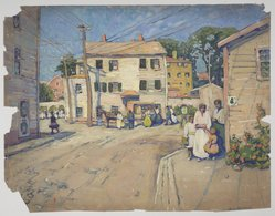 Jane Peterson (American, 1876-1965). <em>Gloucester, Massachusetts</em>. Watercolor, sight 19 1/2 x 27 3/8 in. Brooklyn Museum, Gift of Caryl and Martin Horwitz, 1991.265. © artist or artist's estate (Photo: Brooklyn Museum, 1991.265.jpg)