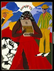 Robert Colescott (American, 1925-2009). <em>Havana Corona</em>, 1970. Acrylic on canvas, 78 1/2 x 59in. (199.4 x 149.9cm). Brooklyn Museum, Gift of Brooke and Carolyn Alexander, 1991.270. © artist or artist's estate (Photo: Brooklyn Museum, 1991.270_SL1.jpg)
