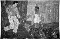 Leon Golub (American, 1922-2004). <em>Riot IV</em>, 1983. Acrylic on canvas, Storage (Stored rolled): 16 x 132 x 16 in. (40.6 x 335.3 x 40.6 cm). Brooklyn Museum, Gift of Susan Caldwell, 1991.272. © artist or artist's estate (Photo: Brooklyn Museum, 1991.272_bw.jpg)