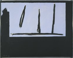 Robert Motherwell (American, 1915-1991). <em>Open Three Black Lines</em>, 1971-1972. Acrylic on canvas, 24 x 30 1/8 in. (61 x 76.5 cm). Brooklyn Museum, Gift of Mr. and Mrs. Alexander Liberman, 1991.277. © artist or artist's estate (Photo: Brooklyn Museum, 1991.277_SL1.jpg)