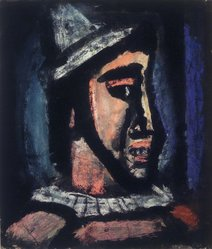 Georges Rouault (French, 1871-1958). <em>Head of a Clown</em>, 1930. Recto: Pastel and ink on wove paper