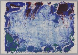 Sam Francis (American, 1923-1994). <em>Happy Death Stone</em>, 1960. Color lithograph, Sheet: 24 7/8 x 35 7/8 in. (63.2 x 91.1 cm). Brooklyn Museum, Gift of David Anderson, 1991.284.17. © artist or artist's estate (Photo: Brooklyn Museum, 1991.284.17_PS9.jpg)