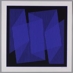 Julian Stanczak (American, born Poland, 1928-2017). <em>Blue Cut-Out Fold</em>, 1970. Serigraph on paper, sheet: 28 3/8 x 28 3/8 in. (72.1 x 72.1 cm). Brooklyn Museum, Gift of David Anderson, 1991.284.44. © artist or artist's estate (Photo: Brooklyn Museum, 1991.284.44_PS9.jpg)