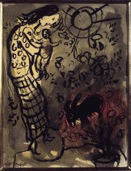 Marc Chagall (French, born Russia, 1887-1985). <em>Mother and Child with Goat</em>, n.d. Ink wash with watercolor on wove paper, 12 1/2 x 9 1/2 in. (31.8 x 24.1 cm). Brooklyn Museum, Gift of Mr. and Mrs. Alexander Liberman, 1991.296. © artist or artist's estate (Photo: Brooklyn Museum, 1991.296_transpc001.jpg)
