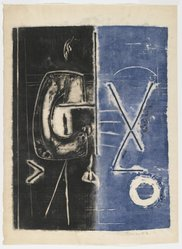 Sam Glankoff (American, 1894-1982). <em>Untitled</em>, 1950-1960. Woodcut with collage elements glued in block monotype on Japanese paper, sheet: 16 1/2 x 12 1/4 in. Brooklyn Museum, Gift of Wendy Snyder, 1991.53. © artist or artist's estate (Photo: Brooklyn Museum, 1991.53_PS2.jpg)