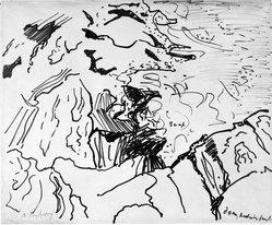 Milton Avery (American, 1885-1965). <em>Surf and Rocks</em>, 1948. Felt-tipped marker on paper, Sheet: 13 13/16 x 16 7/8 in. (35.1 x 42.9 cm). Brooklyn Museum, Gift of Sally Michel Avery, 1991.55. © artist or artist's estate (Photo: Brooklyn Museum, 1991.55_bw.jpg)