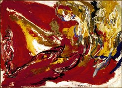 Karel Appel (Dutch, 1921-2006). <em>Life in a Red Landscape</em>, 1957. Oil on canvas, 59 i/2x 81 3/4 in. (152.4 x 206.4 cm). Brooklyn Museum, Bequest of William K. Jacobs, Jr., 1992.107.1. © artist or artist's estate (Photo: Brooklyn Museum, 1992.107.1_SL3.jpg)