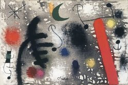 Joan Miró (Spanish, 1893-1983). <em>Couple d'Amoureaux dans la Nuit</em>, 1966. Oil on canvas, 9 x 13 in. (22.9 x 33 cm). Brooklyn Museum, Bequest of William K. Jacobs, Jr., 1992.107.25. © artist or artist's estate (Photo: Brooklyn Museum, 1992.107.25_transpc001.jpg)