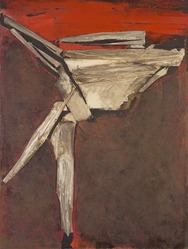 Maria Luisa Pacheco (Bolivian, 1919-1982). <em>Dancer</em>, 1965. Oil and collage on canvas, 58 1/4 x 44 in. (148 x 111.8 cm). Brooklyn Museum, Bequest of William K. Jacobs, Jr., 1992.107.32. © artist or artist's estate (Photo: Brooklyn Museum, 1992.107.32.jpg)