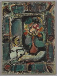 Georges Rouault (French, 1871-1958). <em>Still Life with Clown</em>, 1932. Oil on paper laid down on canvas, 17 3/4 x 13 1/4 in. (45.1 x 33.7 cm). Brooklyn Museum, Bequest of William K. Jacobs, Jr., 1992.107.34. © artist or artist's estate (Photo: Brooklyn Museum, 1992.107.34_PS9.jpg)