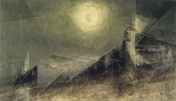 Lyonel Feininger (American, 1871-1956). <em>Lunar Web</em>, 1951. Oil on canvas, 21 1/4 x 36 1/4 in. (54 x 92.1 cm). Brooklyn Museum, Bequest of Edith and Milton Lowenthal, 1992.11.10. © artist or artist's estate (Photo: Brooklyn Museum, 1992.11.10_transp416.jpg)