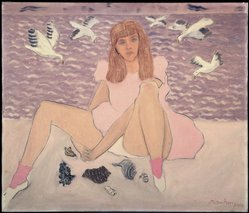 Milton Avery (American, 1885-1965). <em>Artist's Daughter by the Sea</em>, 1943. Oil on canvas, 36 x 42in. (91.4 x 106.7cm). Brooklyn Museum, Bequest of Edith and Milton Lowenthal, 1992.11.1. © artist or artist's estate (Photo: Brooklyn Museum, 1992.11.1_SL1.jpg)