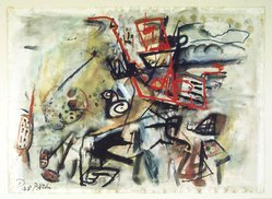 Paul Burlin (American, 1886-1969). <em>Composition, No. 3</em>, 1955. Watercolor on paper, 22 1/2 x 31 in. (57.2 x 78.7 cm). Brooklyn Museum, Bequest of Edith and Milton Lowenthal, 1992.11.2. © artist or artist's estate (Photo: Brooklyn Museum, 1992.11.2_transp424.jpg)