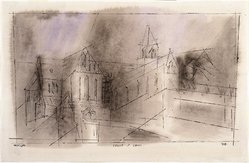 Lyonel Feininger (American, 1871-1956). <em>Cathedral of Cammin</em>, 1938. Watercolor and ink on handmade laid paper, 11 3/8 x 17 7/8in. (28.9 x 45.4cm). Brooklyn Museum, Bequest of Edith and Milton Lowenthal, 1992.11.8. © artist or artist's estate (Photo: Brooklyn Museum, 1992.11.8_SL1.jpg)