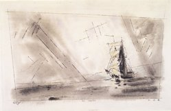 Lyonel Feininger (American, 1871-1956). <em>The Brigantine</em>, 1942. Black ink, watercolor, and gouache on handmade laid paper, 12 1/2 x 19 7/8 in. (31.8 x 50.5 cm). Brooklyn Museum, Bequest of Edith and Milton Lowenthal, 1992.11.9. © artist or artist's estate (Photo: Brooklyn Museum, 1992.11.9_transpc003.jpg)