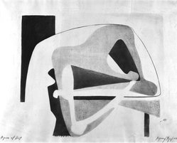 Seymour Fogel (American, 1911-1984). <em>Figure at Rest</em>, 1938. Lithograph, 16 x 19 3/4 in. (40.6 x 50.2 cm). Brooklyn Museum, Gift of Georgia and Michael de Havenon, 1992.117. © artist or artist's estate (Photo: Brooklyn Museum, 1992.117_bw.jpg)