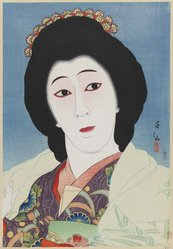 Natori Shunsen (Japanese, 1886-1960). <em>Actor Onoe Baikō VI as Sayuri, from the series Collection of Actor Portraits by Shunsen</em>, 1925. Color woodblock print with mica on paper, 20 3/16 x 15 3/16 in. (51.3 x 38.6 cm). Brooklyn Museum, Gift of Dr. Eleanor Z. Wallace in memory of her husband, Dr. Stanley L. Wallace, 1992.150.3. © artist or artist's estate (Photo: Brooklyn Museum, 1992.150.3_IMLS_PS3.jpg)