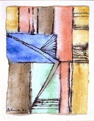 Dorothy Dehner (American, 1908-1994). <em>Untitled</em>, 1982. India ink and watercolor on paper, 5 x 4 in. (12.7 x 10.2 cm). Brooklyn Museum, Gift of Dr. and Mrs. Arthur E. Kahn, 1992.183.4. © artist or artist's estate (Photo: Brooklyn Museum, 1992.183.4.jpg)