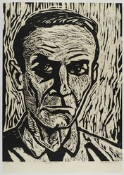 Chris Pelletiere. <em>Cornell Woolrich</em>, 1992. Linocut on paper, sheet: 25 3/4 x 18 in. (65.4 x 45.7 cm). Brooklyn Museum, Gift of Walter W. Sawyer, 1992.185.13. © artist or artist's estate (Photo: Brooklyn Museum, 1992.185.13_PS4.jpg)