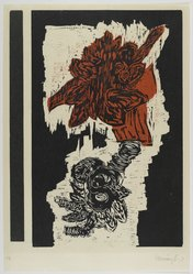 Randy Hemminghaus. <em>Untitled</em>, ca. 1992. Woodcut on paper, sheet: 25 3/4 x 18 in. (65.4 x 45.7 cm). Brooklyn Museum, Gift of Walter W. Sawyer, 1992.185.6. © artist or artist's estate (Photo: Brooklyn Museum, 1992.185.6_PS4.jpg)
