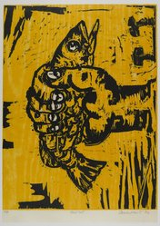 Charles Hewitt (American, born 1946). <em>Hand Out</em>, 1992. Woodcut on paper, sheet: 25 3/4 x 18 1/4 in. (65.4 x 46.4 cm). Brooklyn Museum, Gift of Walter W. Sawyer, 1992.185.7. © artist or artist's estate (Photo: Brooklyn Museum, 1992.185.7_PS4.jpg)