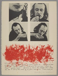 Vito Acconci (American, 1940-2017). <em>Kiss Off</em>, 1971. Lithograph in Black ink and lipstick, 30 1/8 × 22 3/4 in. (76.5 × 57.8 cm). Brooklyn Museum, Gift of Dr. Steven Kazan, 1992.188. © artist or artist's estate (Photo: , 1992.188_PS9.jpg)