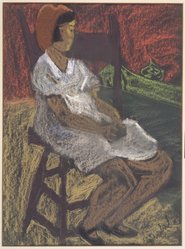 Sally Avery (American, 1902-2002). <em>Child Seated</em>, n.d. Pastel and crayon on paper, 16 1/2 x 12 1/2 in. (41.9 x 31.8 cm). Brooklyn Museum, Bequest of Ivor Green and Augusta Green, 1992.271.13. © artist or artist's estate (Photo: Brooklyn Museum, 1992.271.13.jpg)