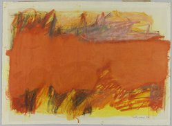 Emily Mason (American, 1932-2020). <em>Orange Abstraction</em>, 1960. Watercolor and mixed media on paper, 19 1/8 x 26 3/8 in. (48.6 x 67 cm). Brooklyn Museum, Bequest of Ivor Green and Augusta Green, 1992.271.19. © artist or artist's estate (Photo: Brooklyn Museum, 1992.271.19_PS1.jpg)