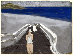 Milton Avery (American, 1885-1965). <em>Bridge to Beach</em>, 1939. Opaque watercolor and white chalk on black wove paper, sheet: 18 × 23 15/16 in. (45.7 × 60.8 cm). Brooklyn Museum, Bequest of Ivor Green and Augusta Green, 1992.271.5. © artist or artist's estate (Photo: Brooklyn Museum, 1992.271.5_SL1.jpg)